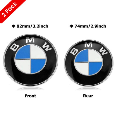 Genuine Front Hood & Rear Trunk (82mm&74mm) For BMW Badge Emblem All Series New