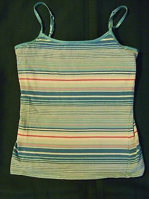 Girls cami size 10-12 iattached bra inside turquoise striped tank top SO label