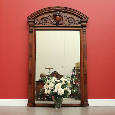 Impressive Antique French Walnut Hall Mirror Entry Foyer Bed Room Mirror Cheval