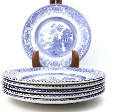 English Ironstone Willow Pattern Salad Side Tea Plates Set of 6 17.5 cm