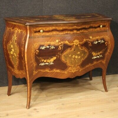 Commode dresser in inlaid wood furniture chest of drawers bedroom antique style