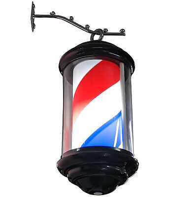 Hanging barber pole LED illuminating rotating red white blue black frame 35cm