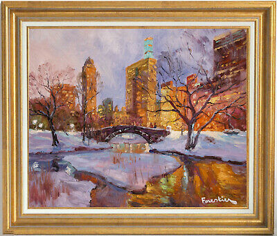 Winter In New York City~Listed Artist~Original Oil Painting By Marc Forestier
