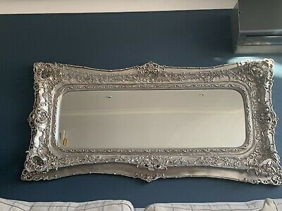 Large Extra Tall Antique Style Opulent Silver Rococo Wall Hall Leaner Mirror