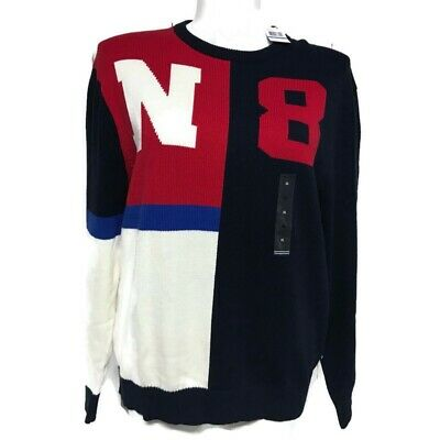 Nautica Mens Sweater Colorblock N 8 Blue Red Size XL Cotton Crew Neck Long Sleev
