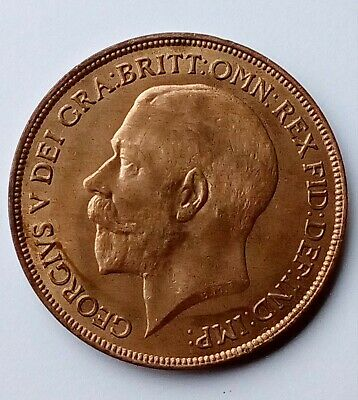 1921 One Penny coin - Great Britain King George V - UNC with FULL lustre.