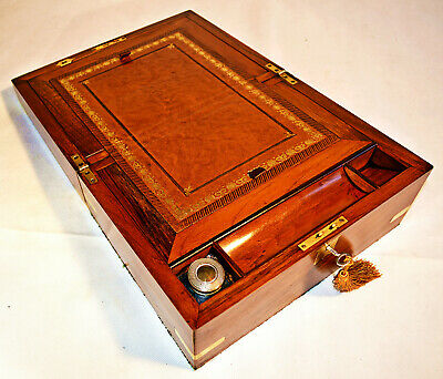 Victorian Walnut Writing Slope with Inkwell & Key, circa 1860