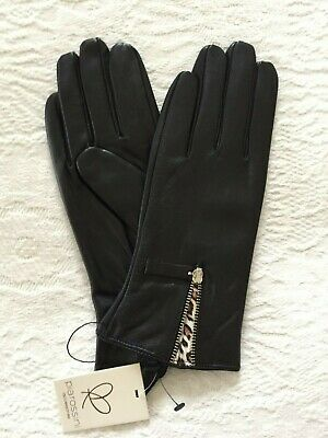 Gorgeous Pia Rossini Black Leather Gloves With Working Zip/Leopard Detail Size L