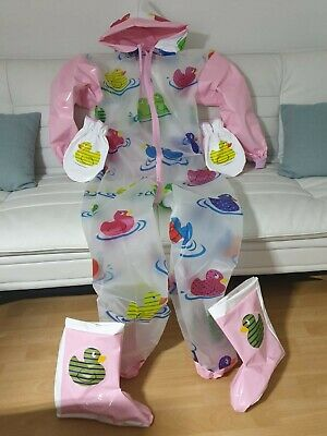 Adult Baby Strampler Overall Catsuit LACK PVC SCHLAFANZUG GUMMI SCHUHE FAUSTLING