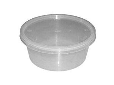12oz Round Microwave Clear Plastic Food Containers + Lids - Takeaway - 50 Pack