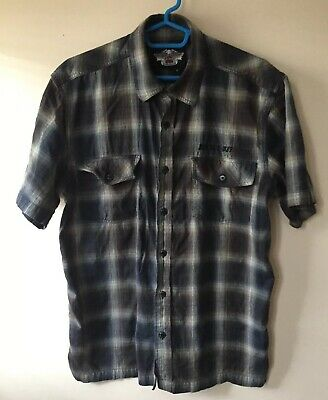 Harley-Davidson Motorcycle Men's Button Up Shirt Casual Sz Medium Embroidered