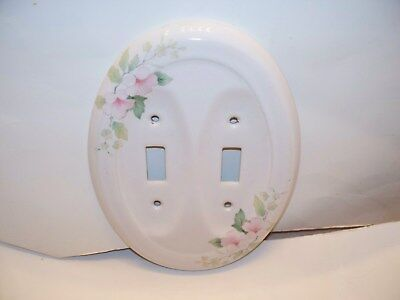 Double Light Switch Cover Ceramic/Porcelain Pink Flowers White
