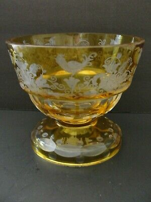 Antique Bohemian Amber Crystal Glass Bowl Cut to Clear Panels w/Flowers  & Birds