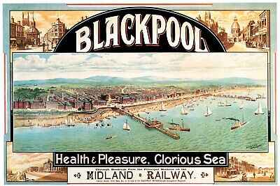 Blackpool Midland Railway Train Travel Advert Vintage Retro Style Metal Sign
