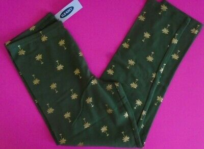 Nwt Old Navy Teen Girl's Green Gold Palm Trees Crop Legging Pants Stretch 14