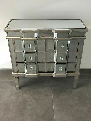 Mirrored Venetian 6 Drawer Chest of Drawers with Distressed Antique Silver Trim