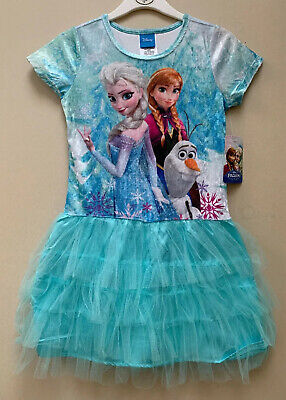 BNWT Girls Disney Frozen Anna And Elsa Netted Party Dress Aged 7-8 Years