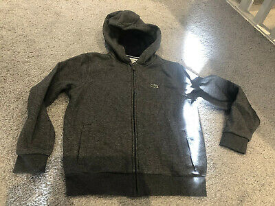 Lacoste Boys Dark Grey Zip Hoodie Age 10 Years - Immaculate Condition!