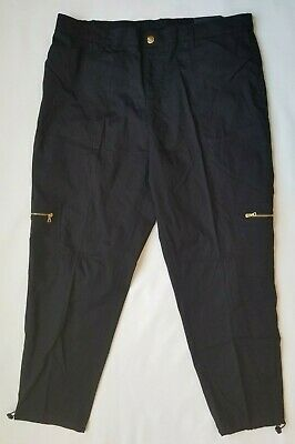 RAFAELLA Women's Black Pants Size 16 Comfort Cargo Cropped Ankle NWT