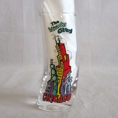 """Chicago The Windy City Souvenir Shot Glass 4"""" Tall Curved 2.75 oz"""