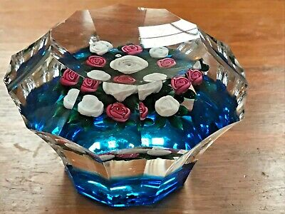 Banford Glass Paperweight with Pink & White Roses Cobalt Ground Faceted AS IS