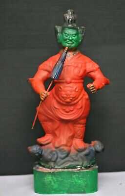 Dramatic Antique Chinese Painted Brass Temple Guard Statue Circa 1800s
