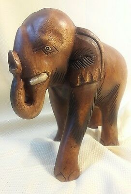 "Large Wooden Elephant Hand Carved Decorative Hand Made Thailand 9 1/2"" Tall"
