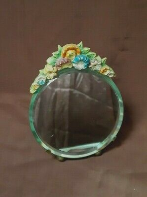 Retro Vintage Collectable Small Bevelled Round Mirror Barbola Flowers  Top Edge