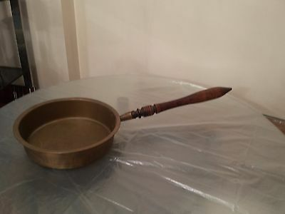 Antique Russia heavy brass pan wood handle preserves