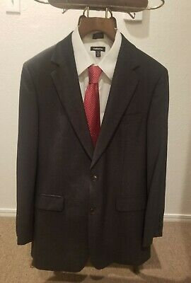 Brooks Brothers 346 Stretch Men's 40R Charcoal Gray Suit 33x33 Pants