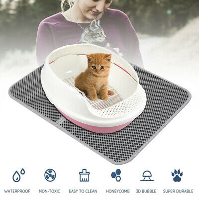 Cat litter Mat - Double Layer Pad - Large Flexible Trapping for Box Pan -Gray AU