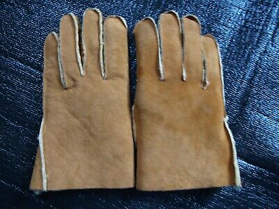 Pair of Sheepskin Gloves Tan Colour with Pale Inner  Made in UK  Size L  Good