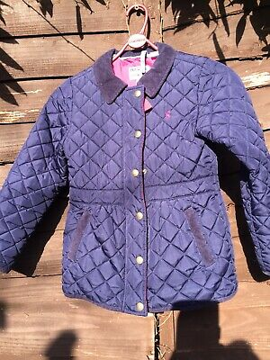 Joules girls navy blue padded jacket/ coat age 8 years, Sound Condition
