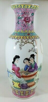 "Chinese Vase Famille Rose 10"" Hand Painted Vintage Porcelain Floral Ladies Pink"
