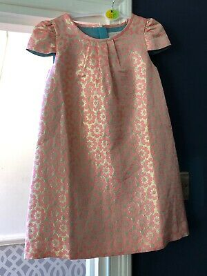 Mini Boden (Used Once) Pink and Gold Flower Dress Age 6-7