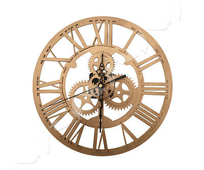 Large Round Acrylic Gold Wall Clock Vintage Steampunk Skeleton Modern Home Decor
