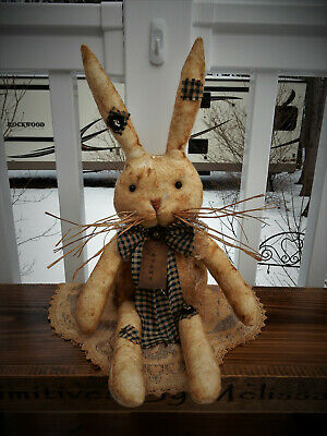 FoLk Art PrimiTive SpRiNg BuNNy TaG gruNgY paTch RaBBiT DOLL EasTer DecoraTion
