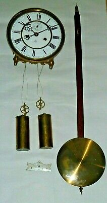 Gustav Becker Vienna double-weight wall clock movement & parts