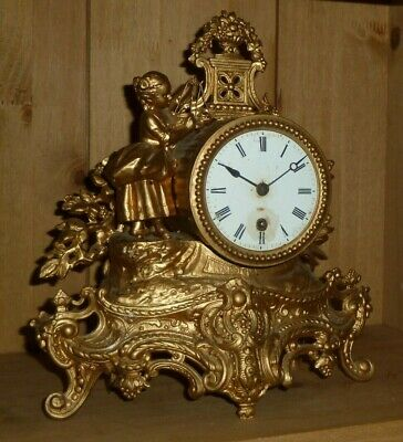 Antique French Figural Mantel Clock for spares