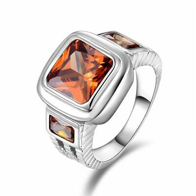 Mens Nobby Size 12 Princess Cut Champagne Topaz 18K Gold Filled Anniversary Ring