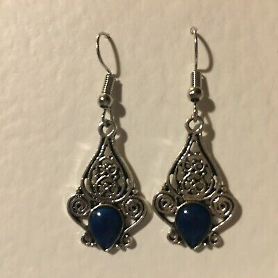 SMALL silver plated VICTORIAN STYLE FILIGREE EARRINGS BLUE STONES DROP.. hook