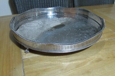 "Vintage 15.75"" silver on copper gallery tray with claw & ball feet"