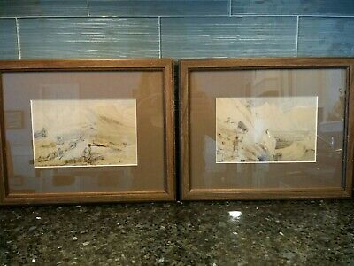 Pair 19th Century Watercolors of Hunters in the Himalaya Mountains - Framed