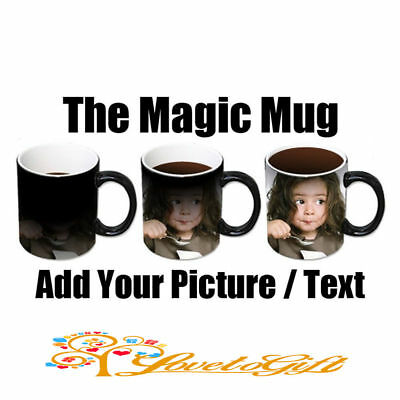 New Personalised Heat Colour Changing Gift Magic Mug Image Photo Logo Text Cup