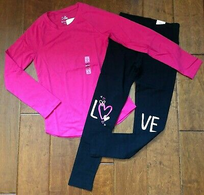 NWT JUSTICE Girls Size 8  Pink Long Sleeve Tee & Heart Leggings Outfit