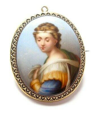 Beautiful antique Victorian hand-painted porcelain locket pendant brooch
