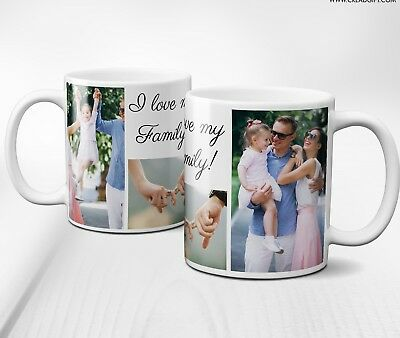 PERSONALISED MUG COLLAGE 5 PHOTOS&TEXT gift for him her husband wife girl/boy