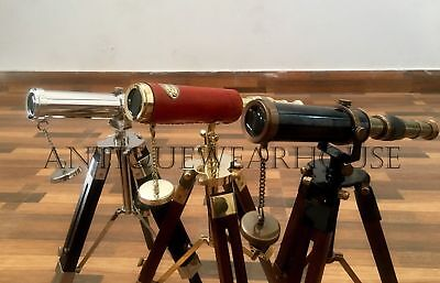 3 Solid Brass Pirate Spyglass Telescope With Wooden Tripod Decor