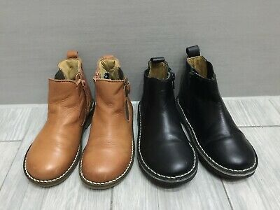 TODDLER GIRLS 2x NEXT BLACK AND TAN LEATHER CHELSEA BOOTS BUNDLE, SIZE 9