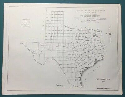 Antique 1900 Map Of Texas Counties Texas Planning Board Vintage Copy
